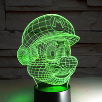 Mario Shape Night Light Handmade 3D Desk Lamp LED Luminaria Veilleuse Lampara Infantil Novelty Kids Baby Lamp Christmas Lights