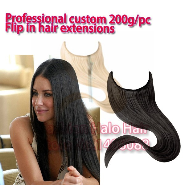 Professional Custom 200gpc Europam Hair Flip In Halo Hair