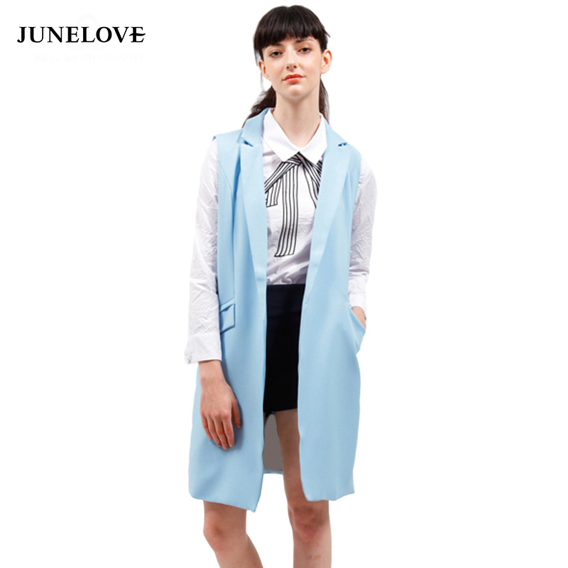 JuneLove 2018 new fashion Long blazer coat jacket women turn-down collar open stitch jacket sleeveless waistcoat outwears
