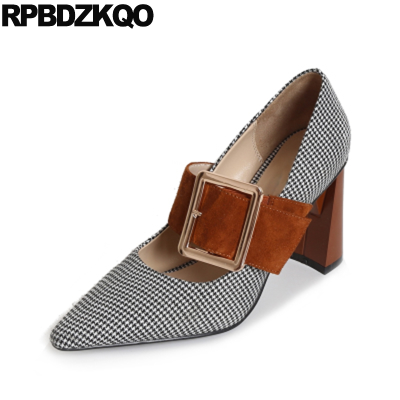 Mary Jane 3 Inch Women Pointy Vintage Pumps Block Celebrity Strap Removable Heels Shoes Brand High Quality Houndstooth Cloth