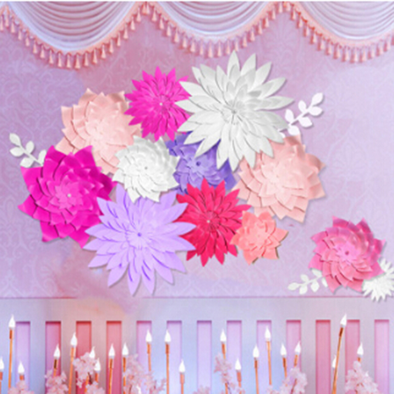 Us 2 38 34 Off Diy Paper Flower Backdrop Wedding Backdrop 20cm Paper Flowers Kid S Birthday Party Wall Hanging Decor In Party Backdrops From Home