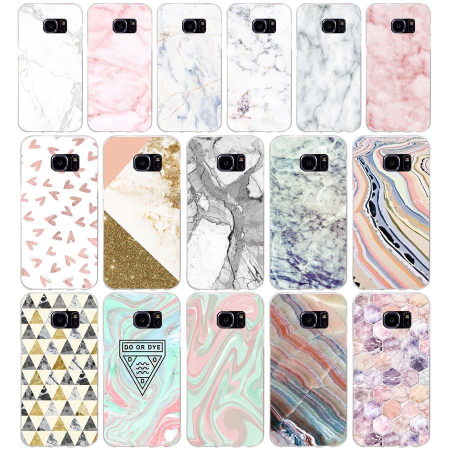 120AQ pink white blue marble Soft TPU Silicone Cover Case for samsung Galaxy s6 s6 s7 edge s8 s9 plus case image