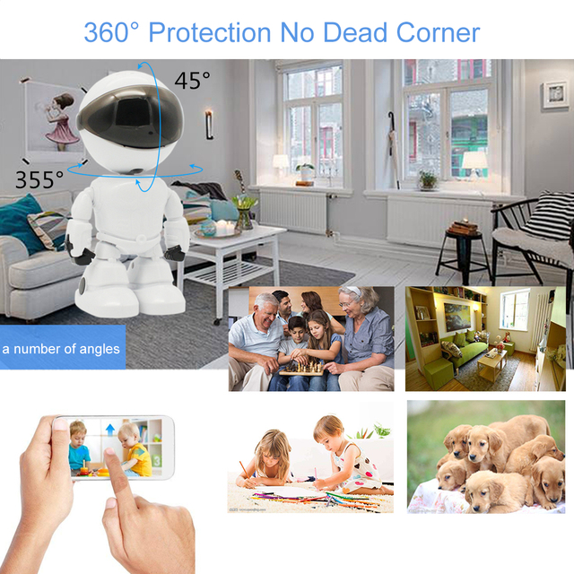 Wireless Robot WIFI Camera Full HD Quality 1080P 2.0MP Pan Tilt Rotation IP Camera Baby Monitor Remote Control Motion Detection