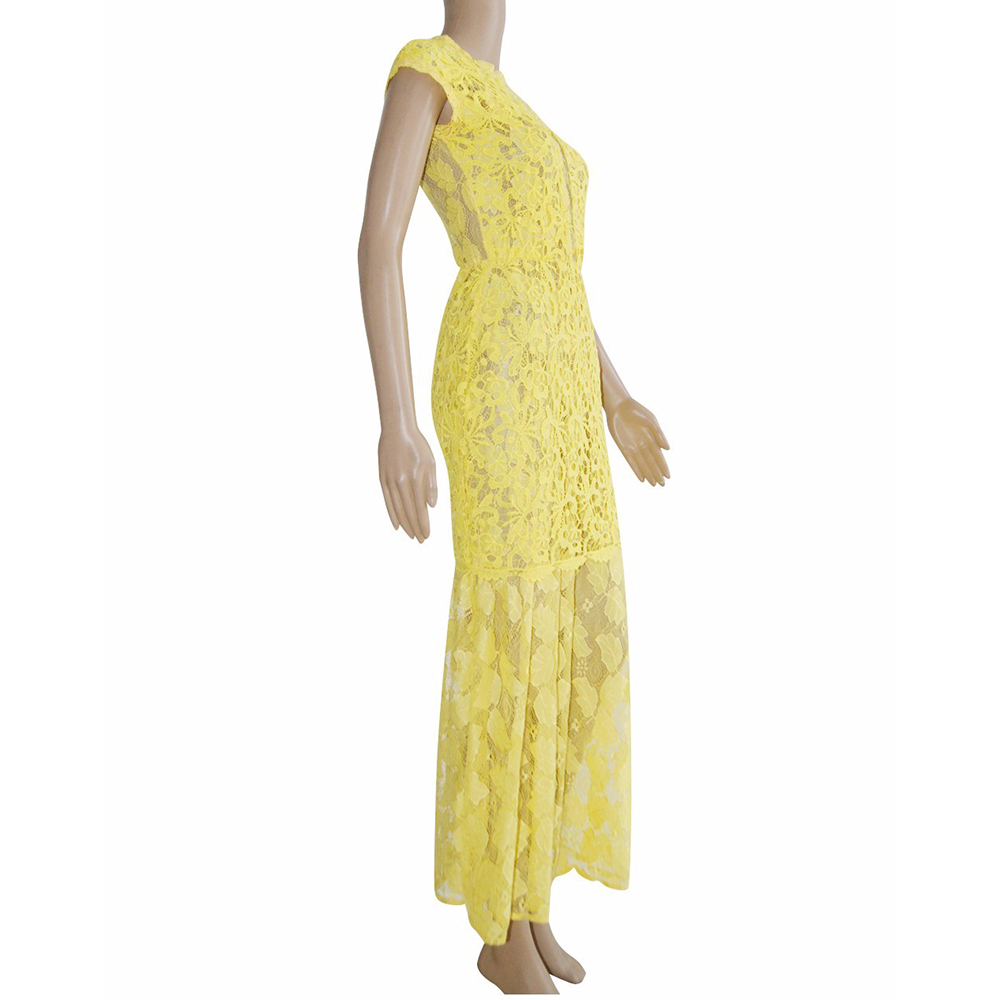 Summer Women Casual Crochet Mesh Floral Embroidered Lace Dress Sleeveless O Neck Backless Yellow Sexy Dress W633577