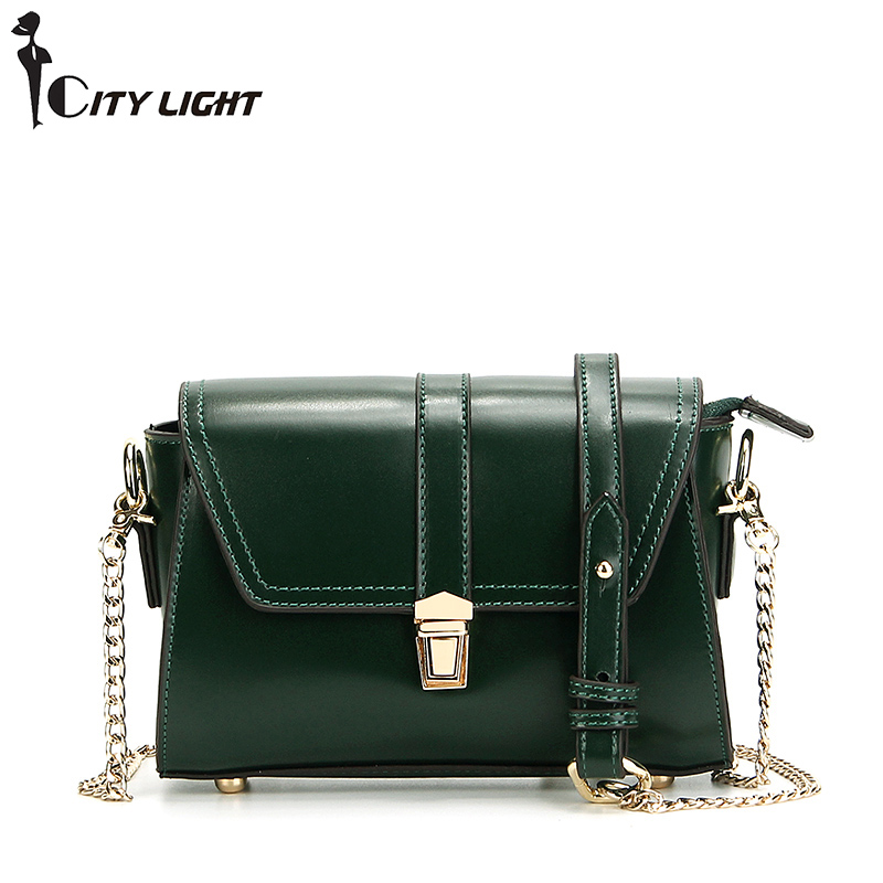 New vintage women bags wax cowhide small bag genuine leather women Messenger Bags shoulder Chain Strap cross-body bag