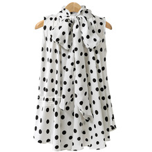 Sleeveless Chiffon Polka Dots Blouse