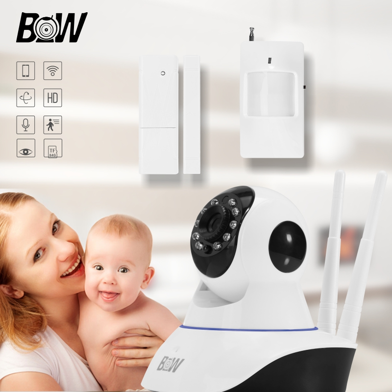 BW Rfid HD 720P Mini IP Camera P2P MegaPixel Lens Filter Wireless Wifi IR-Cut Night Vision Infrared Motion & Door Sensor Alarm bw wireless wifi door