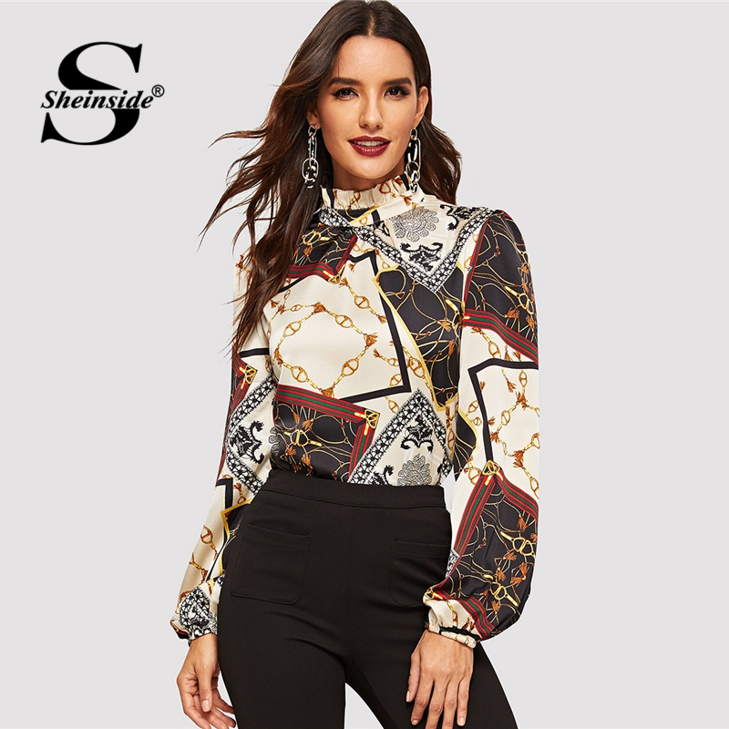 Sheinside Elegant Long Sleeve Women   Blouse     Shirt   Office Ladies Frilled Neck Retro Print Top Ol Work Womens   Blouses   &   Shirts