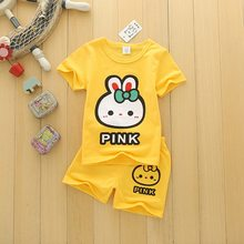 2019 Children Boys Girls Clothes Set Kid Cartoon Rabbit Summer Baby Suits Toddler Clothing Cute Brand Tracksuits(China)