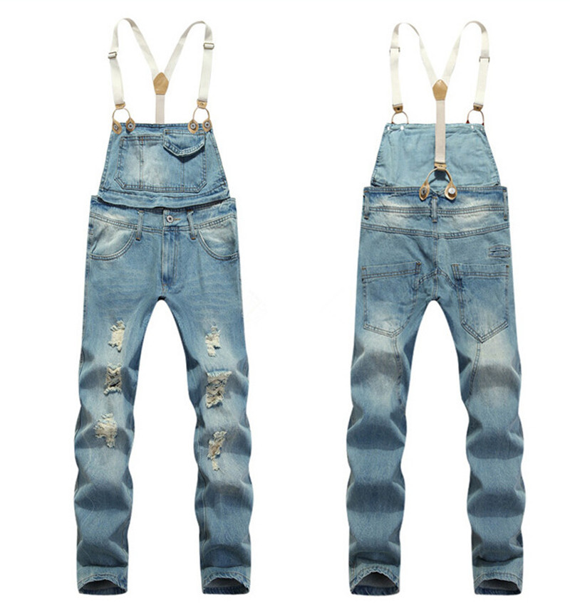 ФОТО 2015 Summer Long Solid Blue Slim Cowboy Overall Cotton Hole Designer Fashion Bib Denim Overalls For Men Size M-XXL