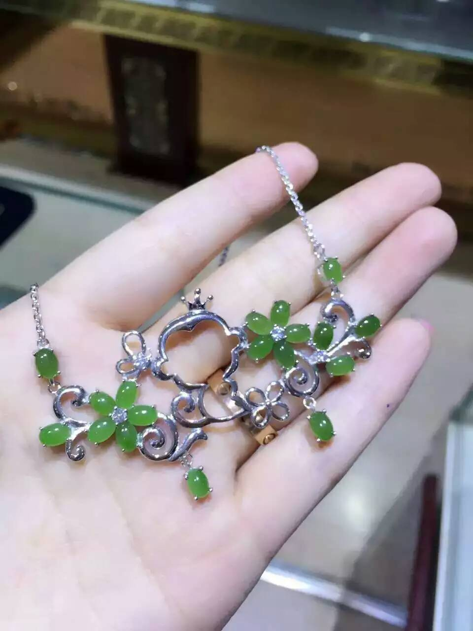 Natural green jasper Necklace natural gemstone Pendant Necklace S925 Sterling silver trendy Garden monkey women party Jewelry