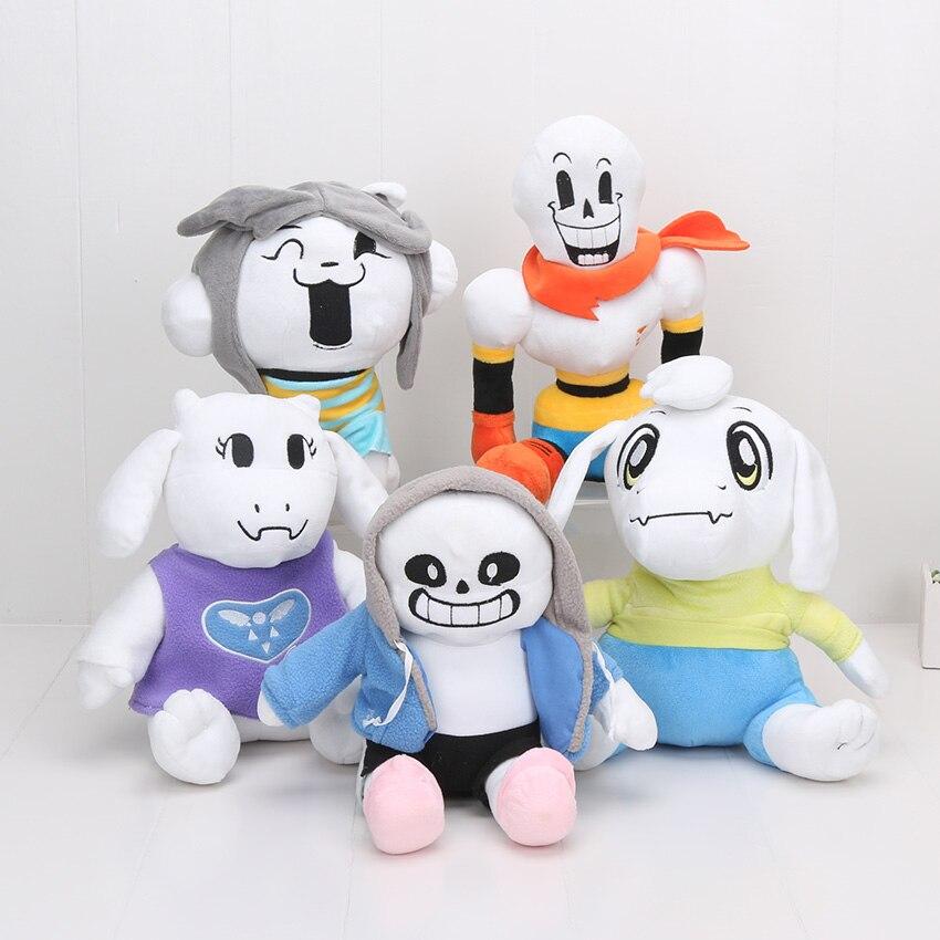 5pcs/set 25-36cm Undertale Sans Papyrus Asriel Toriel Stuffed Doll Plush Toy For Kids Christmas Gifts