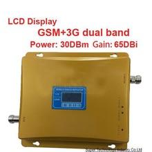 2014 nuevo modelo 980 potencia 30 dbm ganancia 65dbi LCD pantalla dual bandas bandas duales GSM + 3G de refuerzo repetidor booster WCDMA repetidor