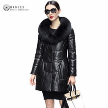 Real Leather Jackets Women Fox Fur Winter Coat 2018 Slim Warm Genuine Leather Outerwear White Duck Down Sheepskin Parka Oka809