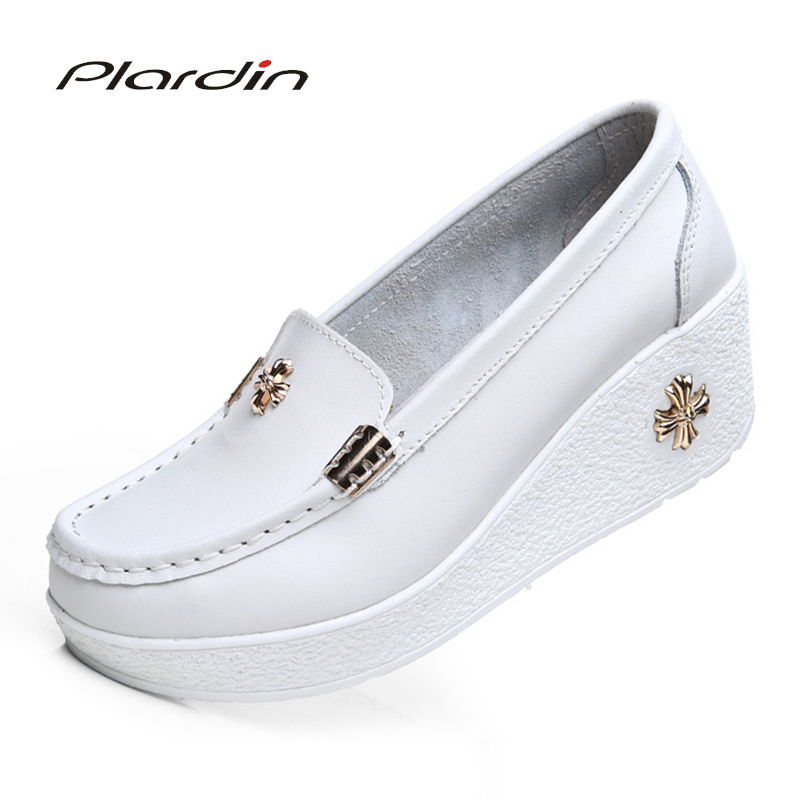 Plardin Floral Flats Shoes Platform Slipper-Pattern Comfortable Women Casual Cut-Out