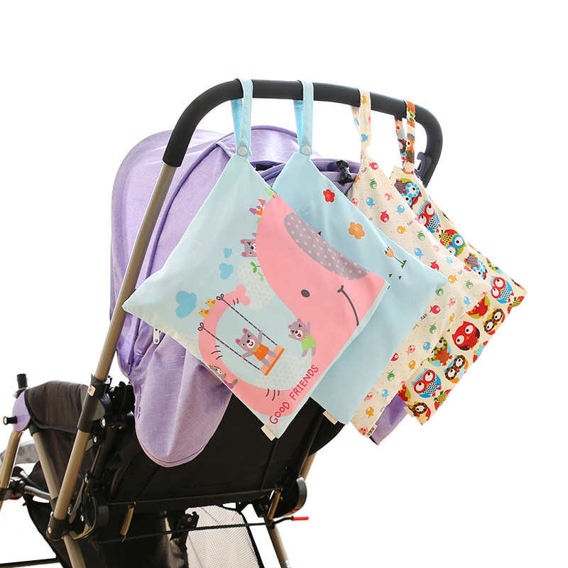 Waterproof Baby Diaper Bag Cute Print Nappy Bag Travel Wet Dry Bags Small Size 30*28cm Stroller Bag Hanimom