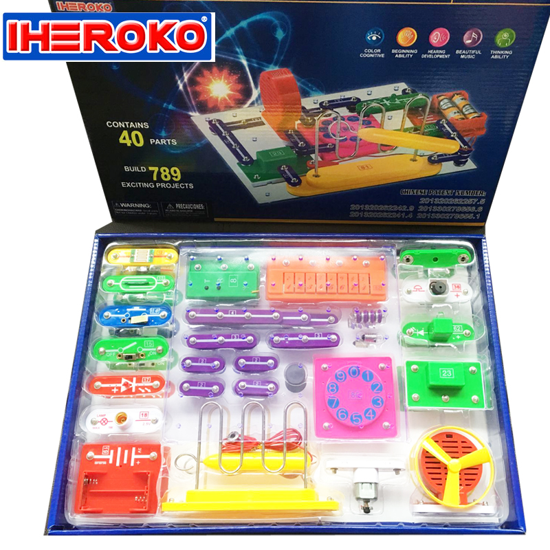 New IHEROKO Creative DIY Electronic Circuit Stitching Educational Toy Building Blocks Students Children Physics Learning