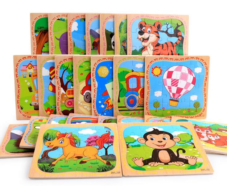 2017 New 16 piece Wooden Cartoon Animal Jigsaw Puzzles Educational Toy for Children