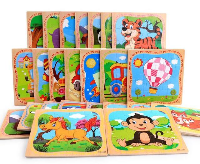 2017 New 16-piece Wooden Cartoon Animal Jigsaw Puzzles Educational Toy for Children