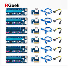 6pcs Golden VER009 USB 3.0 PCI-E Riser VER 009S Express 1X 4x 8x 16x Extender Riser Adapter Card SATA 15pin to 6 pin Power Cable(China)