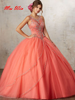 Vestidos de 15 anos Coral Quinceanera Dresses 2019 Cheap Quinceanera Gowns Jewelry Tulle Sweet 16 Ball Gowns Quinceanera Dress