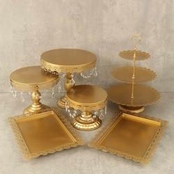 6pcs/set Gold White Metal Grand Baker Cake Stand Set Wedding Cake Tools Fondant Cake Display Kit For Party bakeware Accessory