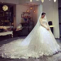 New women white chiffon lace strapless wedding dress ball gown with trailing