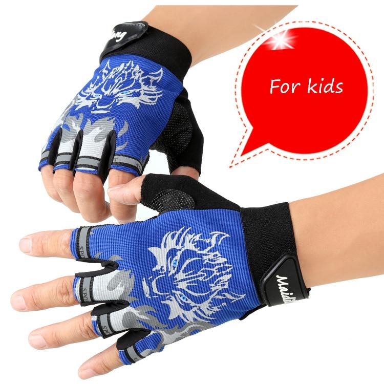 Āra bērnu cimdu izjādes sporta cimdi Fingerless cimdi Slēpju izturīgi saules aizsargi Pusi pirkstu āra bērnu cimdi