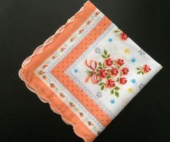 10pcs lot Vintage white Ladies lace Handkerchief Cotton Flowers Women men children print square face hand towels wedding Gifts in Handkerchief Towels from Home Garden