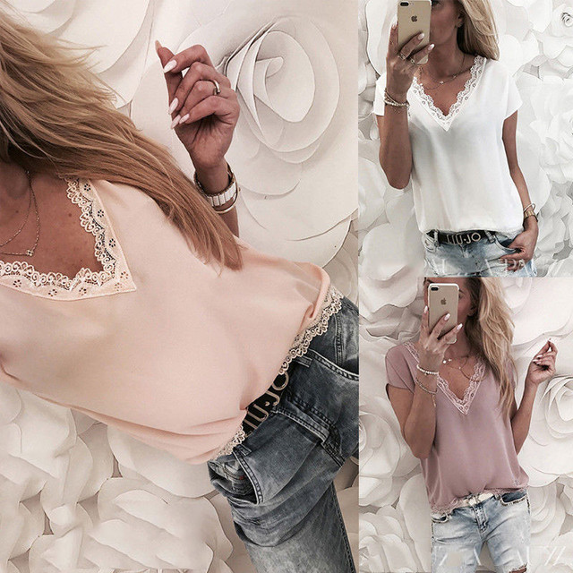 Casual Loose Sleeveless Solid Lace V-neck Chiffon Blouses