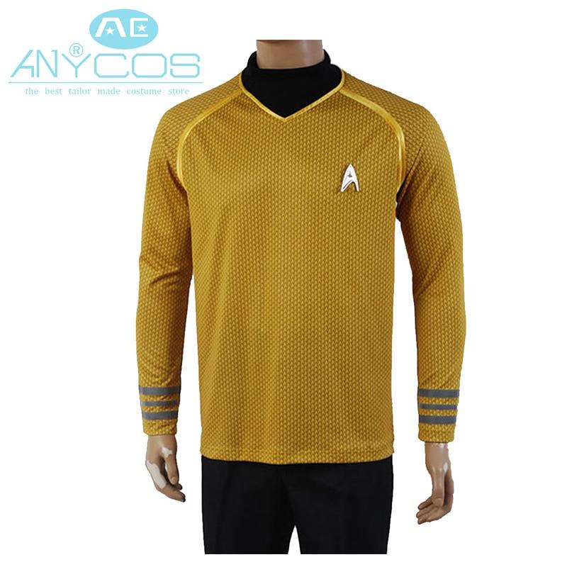 Star Trek Into Darkness Captain Kirk Knit Shirt Uniform For Men Halloween Cosplay Costume Yellow Version