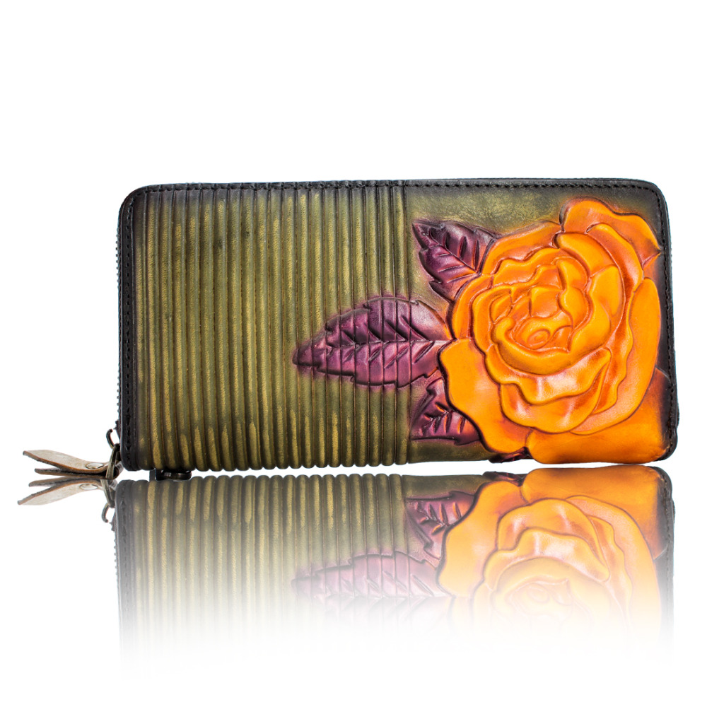 Cuir italien logo personnalisé en gros portefeuille en cuir femmes personnalité portefeuille sacs à main sacs en cuir mode fleur