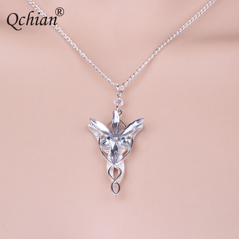 Hobbit Princess Crystal Inlaid Crystal Pendant White Angel Wings Crystal Leaves Necklace Pretty Gift for Children