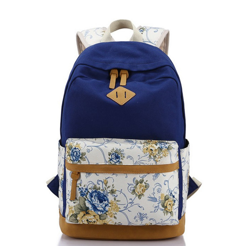 2016 preppy school bag for Girl 캔버스 매치 Nubuck Leather Satchel 배낭 여성 Mochila Escolar Printing Backpack