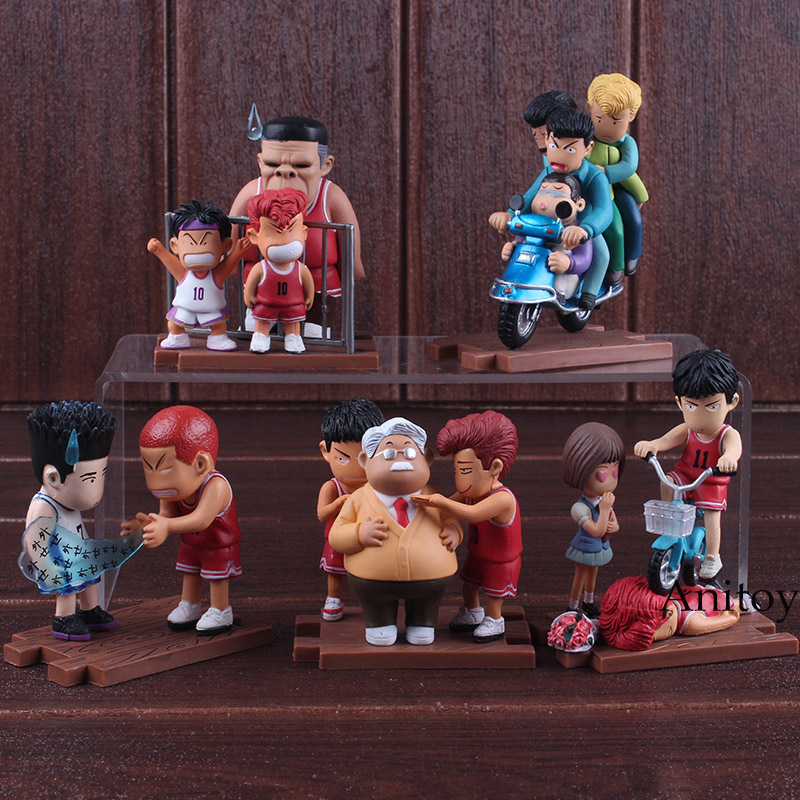 Anime Cartoon Slam Dunk Rukawa Kaede Sakuragi Hanamichi Figure PVC Hot Toys Action Figures Collectible Toys Set цена