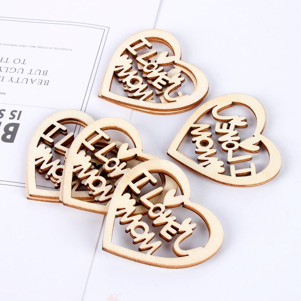 10PCS/Pack Mother's Day Wooden Love Heart Embellishment Laser Cut Slice Hanging Ornaments Handcraft Wood DIY Crafts Home Decor