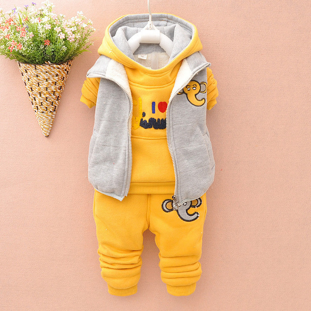 2015 Baby Boys Girls Clothing Set for Winter Autumn Thicken Warm Children Kids Clothes Coat+Hoodies Sweatshirts+Pant Tracksuits