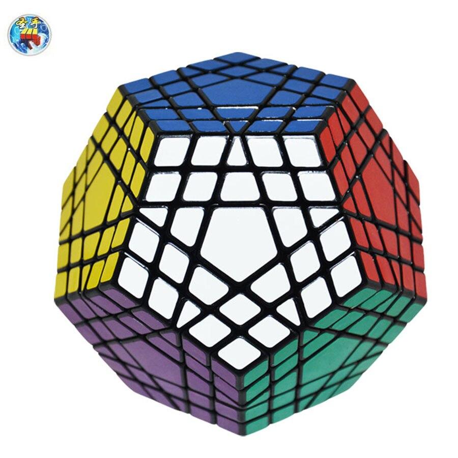 Shengshou gigaminx Magic Cube Черный База с ПВХ Наклейки профессиональный magic cube обучения Развивающие Игрушечные лошадки
