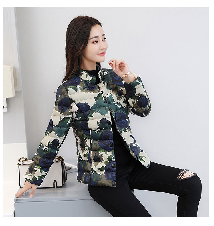 Cotton coat short cultivating thin cotton suits 2017 winter new Korean version small fashion printing jacket