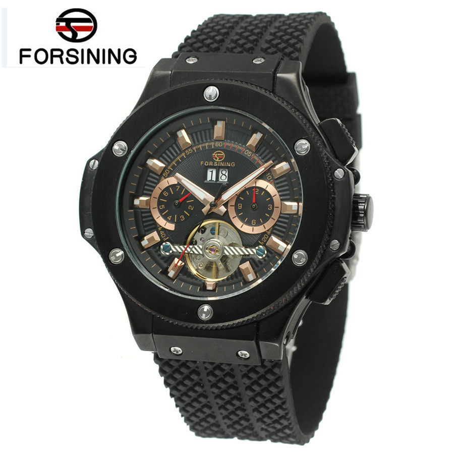 2016FORSINING Luxury Relogio Masculino Men's Day/Week Tourbillion Auto Mechanical Watches Wristwatches Gift Box Free Ship 2016 luxury relogio masculino day week month tourbillon auto mechanical watch wristwatch valentine s day gifts box free ship