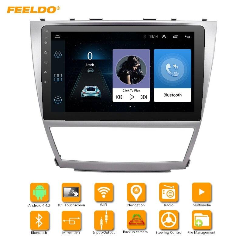 Автомобильный медиаплеер FEELDO HD 1024*600 10,2 дюйма, Android 6,0, четырехъядерный, с GPS, для Toyota Camry XV40 (2007 2011)/Daihatsu Altis