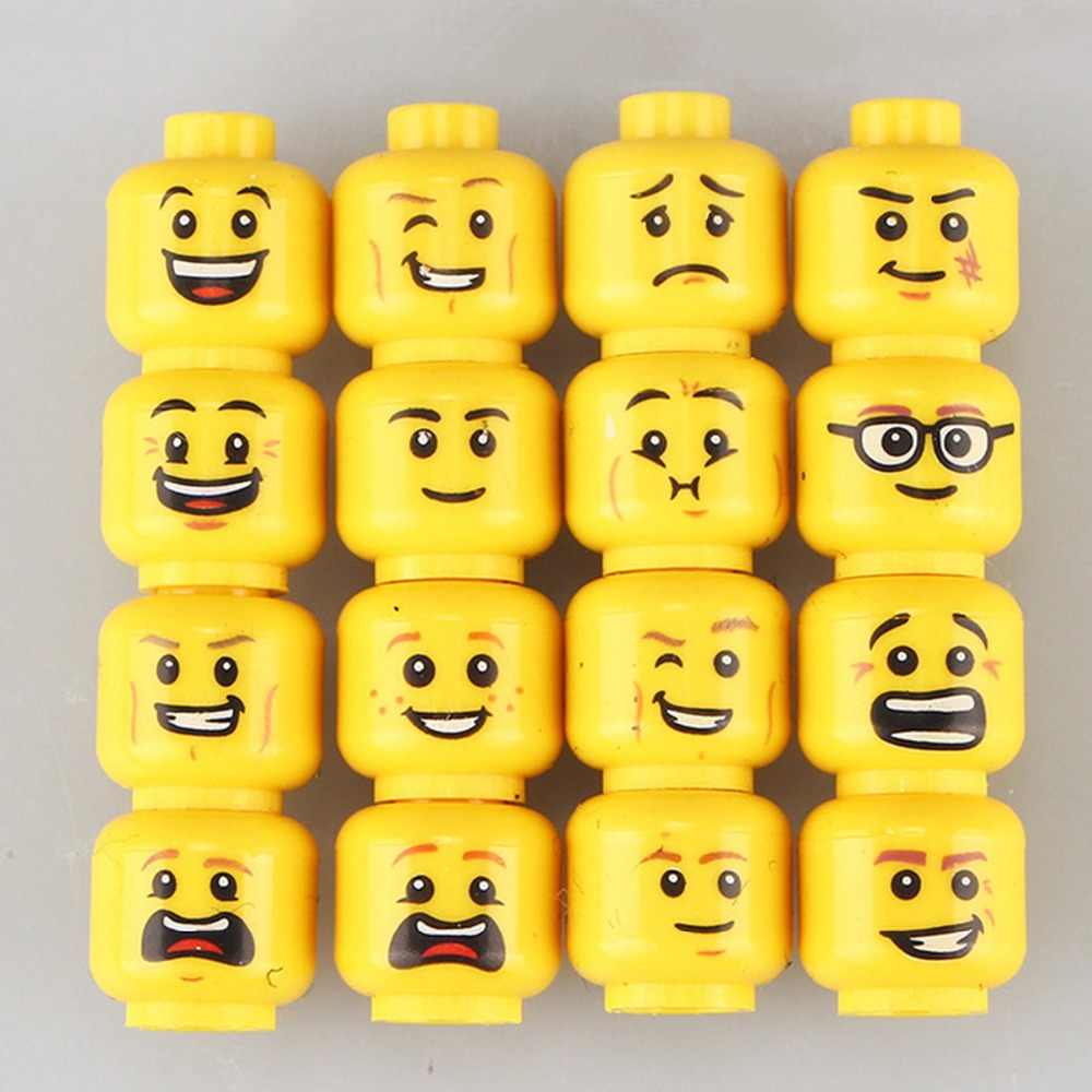 16 pcs/Lot Funny Model Bricks Toys For Children Figure Face Head Female Accessories Buidling Blocks Set