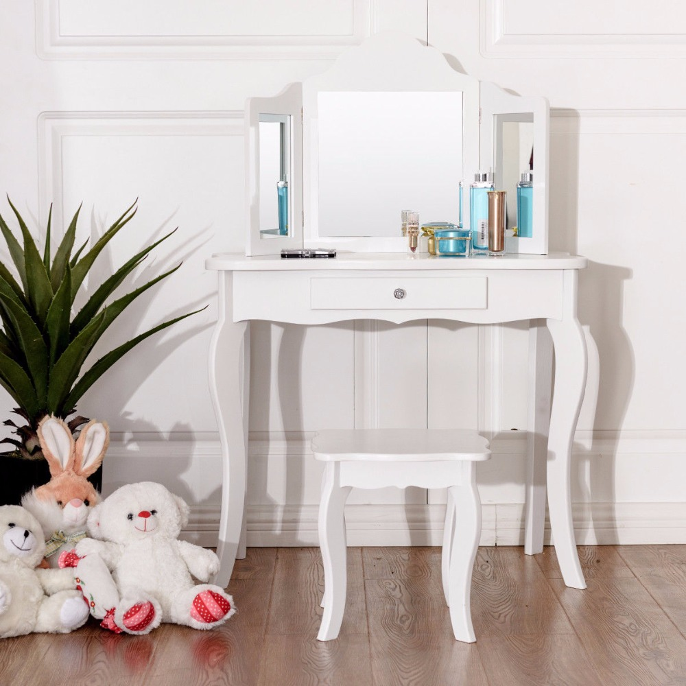 Giantex Vanity Table Set Makeup Dressing Table Kids Girls Stool Mirror Home Furniture HW57895