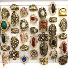 50pcs Gold Color Baroque Style Vintage Rhinestone Rings Mixed Designs For Women