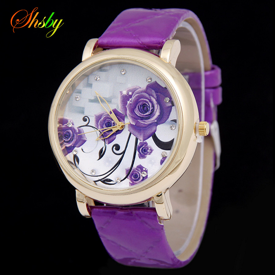 Shsby Brand Purple Flowers Leather Strap WristWatches Fashion Ladies Rhinestone Quartz Watch Women Dress Watches Girl's Gift