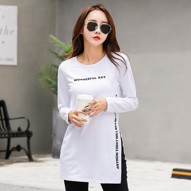 7052660730 Nuevo INVIERNO DE 2017 T camisa de las mujeres Tee de manga larga 100%  algodón. Sitúa el cursor encima para ...