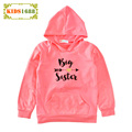 2017 Kids Girl T shirt Spring Letter Big Sister Print Girl Hooded T-shirt New Arrow Long sleeves Toddler Boy Clothes Top Sweater