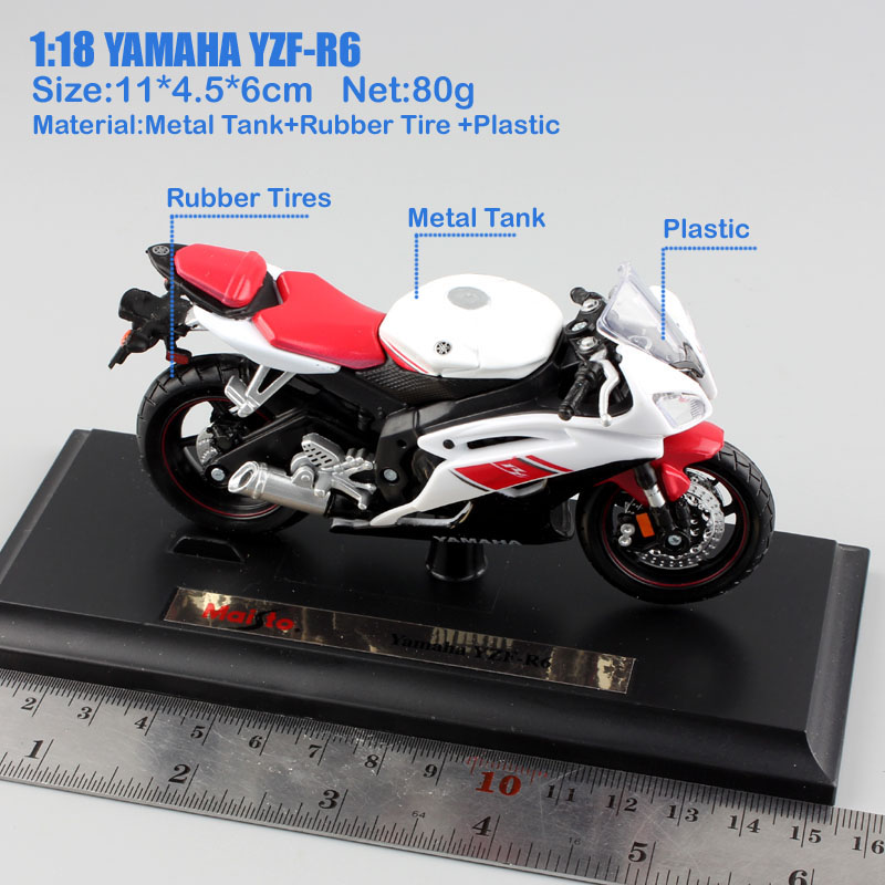 Brand 1 18 scale children YAMAHA YZF R6 motorcycle super sport race metal Diecast bike car model engine Toy moto car new in box in Diecasts Toy Vehicles from Toys Hobbies