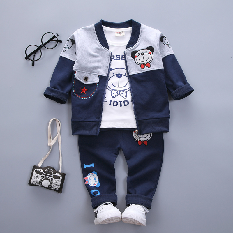 baby boy girl clothes sets spring autumn newborn cartoon bear coat +Long sleeve Top + pants 3pcs sport suit baby clothing sets cute newborn infant baby girl boy long sleeve top romper pants 3pcs suit outfits set clothes