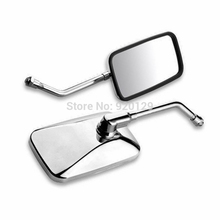 Motorcycle 10mm Thread Chrome Rectangle side mirrors Rearview mirror for Cruiser Scooter Shadow Rebel Free shipping